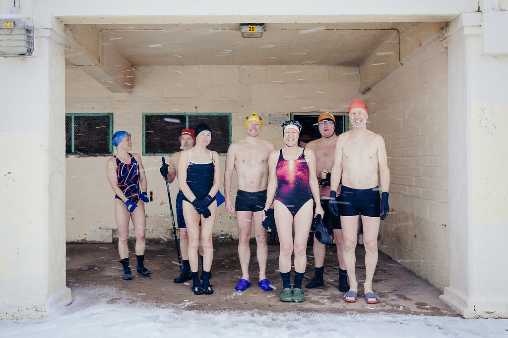 Sheltering before a snowy swim