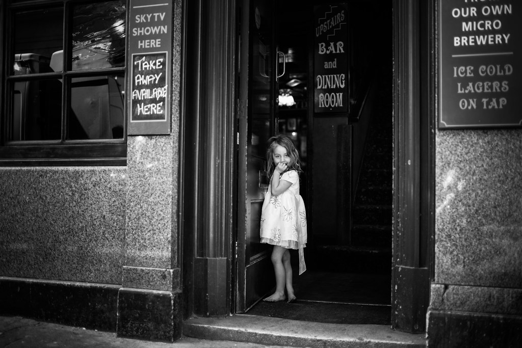 little girl in the pub