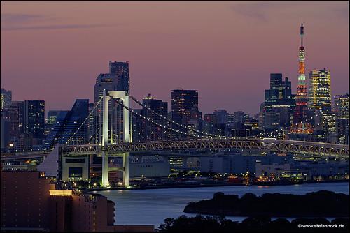 sunset japan architecture tokyo sonnenuntergang architektur tokyotower odaiba bluehour rainbowbridge tokio blauestunde