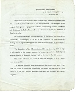 Monmouthshire Railway Prospectus letter of 1846 | by ian.dinmore