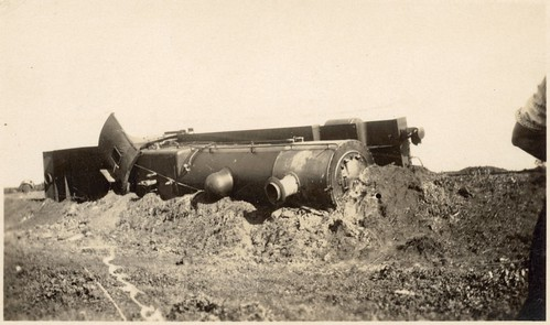 [Overturned train engine of the Brisbane Limited that crashed at Aberdeen, New South Wales, on June 10, 1926] | by National Library of Australia Commons