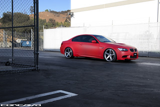Matte Red BMW M3 on CW-5 Matte Grey Machined Face | by Concavo Wheels