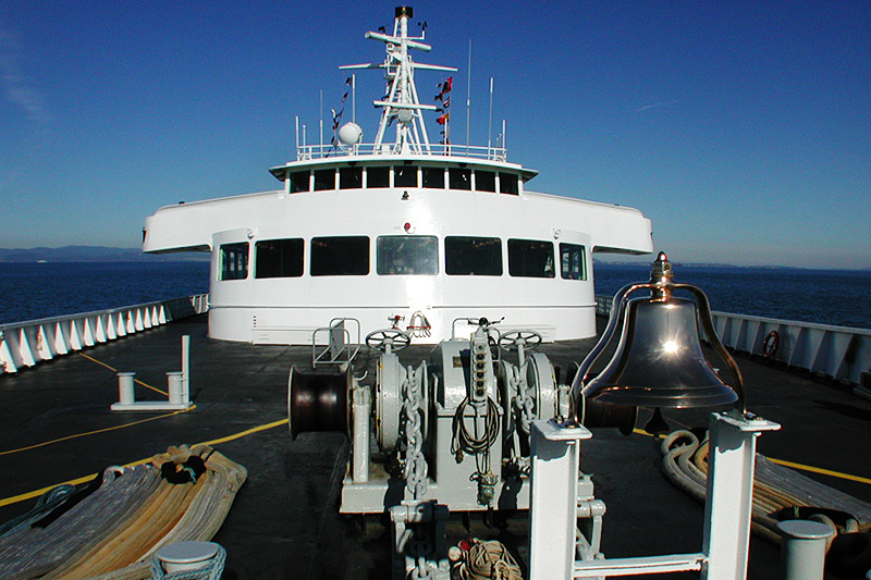 MV Coho Ferry crossing the Juan de Fuca Strait from Victoria to Port Angeles, Olympic Peninsula, Washington, USA