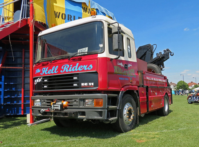 P612DHN ERF EC11 The Hell Riders Fairground Lorry
