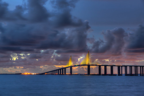 bridge sunset sunshine stpetersburg tampa bay unitedstates florida petersburg pete hdr skyway cablestayed terraceia fav25