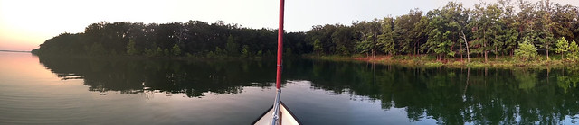 Stockton Lake - Panoramas don't quite work out when the boat is moving slightly. Where I woke Saturday morning. Lots of owls hooting through the night.