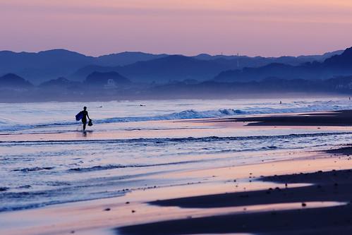 sunset sea twilight surfer minamiboso