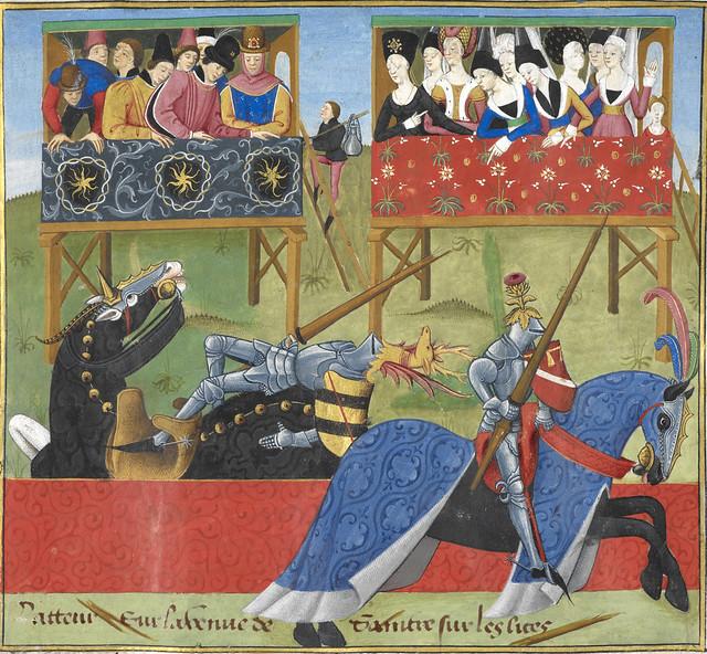 The Romance of Jean de Saintré - caption: '[Miniature] Jean de Saintré jousts with the Spanish knight, Enguerrant, at a tournament.'