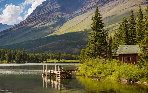 park mountain lake water dock montana unitedstates hike glacier national hdr browning swiftcurrent fav25