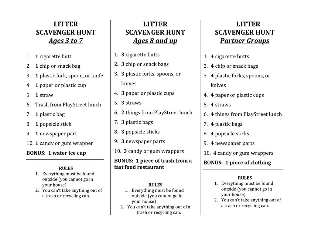 Scavenger Hunt List >> Flyer The Almighty Litter Scavenger Hunt List W Rockland