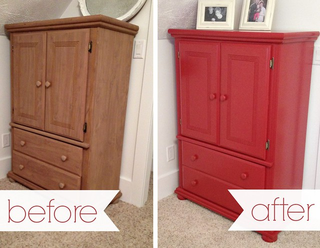 painted armoire before and after
