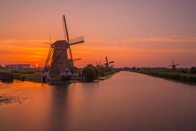 Sunset over the windmills at Kinderdijk