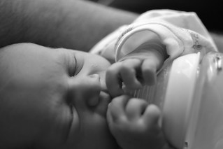 Baby with bottle (bw) | by bigpresh