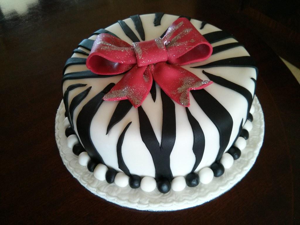 Terrific Zebra Birthday Cake Simple Black On White With Red Fondan Funny Birthday Cards Online Alyptdamsfinfo