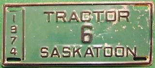 SASKATCHEWAN, SASATOON  1974 ---TRACTOR LICENSE PLATE