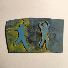 #rubberstamp #silhouettes #yellow #blue #black