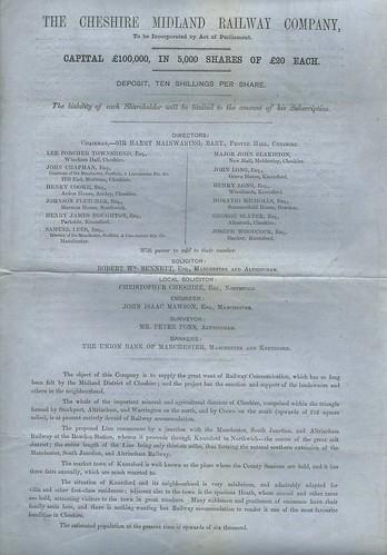 Cheshire Midland Railway Prospectus 1860 | by ian.dinmore
