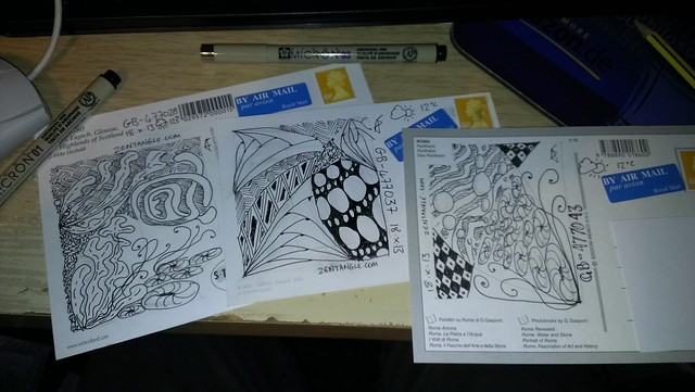 Some Postcrossing / Zentangle crossovers heading off to post tonight