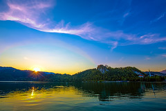 Sunset at the Bled lake
