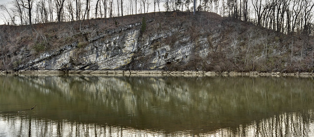 Tilted beds, Newala Formation, Fort Loudoun Reservoir, Tennessee River, Knoxville, Knox County, Tennessee