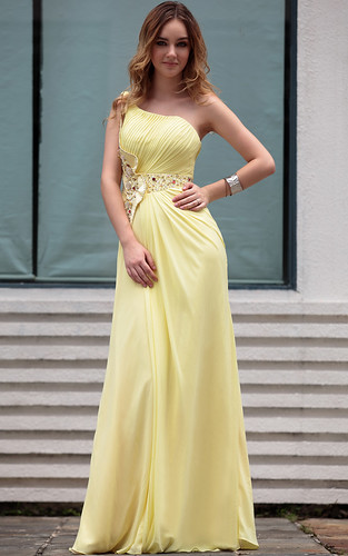 Hot Sale Modern One Shoulder Yellow With Ruffle Arabic Par