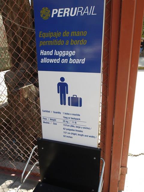 日, 2013-08-18 15:22 - Perurail駅 手荷物制限