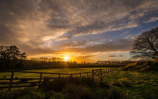 Devon winter sunset