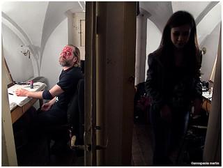 Davide Toffolo e Mimosa Campironi. Camerini Teatro Litta per Cinque allegri ragazzi morti IL MUSICAL LO-FI, Milano, 17 gennaio 2014. | by Annapaola Martin