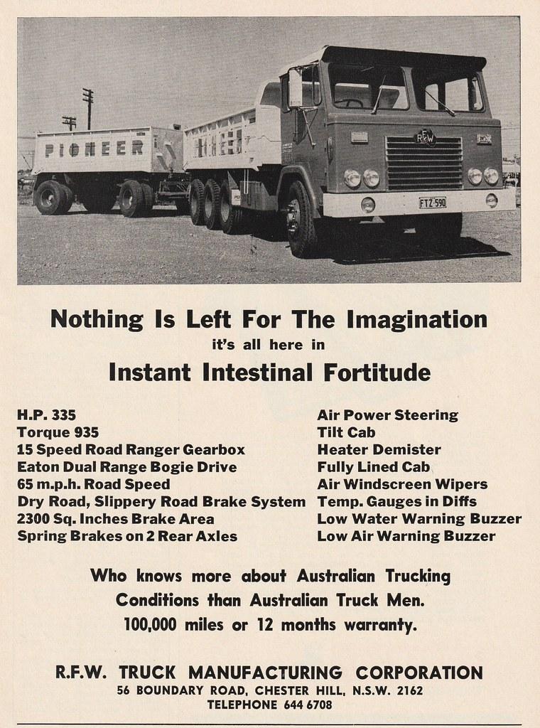 1971 RFW Truck Ad - Australia | Covers the 1971 RFW Trucks t