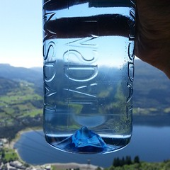 the bottom dent of these water bottles is shaped like a mini-iceberg #norway #voss