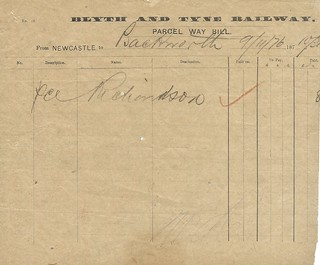Blyth and Tyne Railway Parcels Waybill 1877 | by ian.dinmore