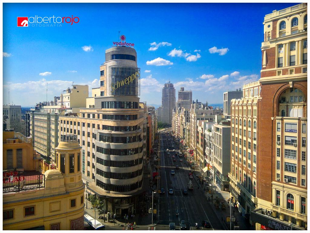 La Gran Vía Madrid Desde La Terraza Del Gourmet Plaza De