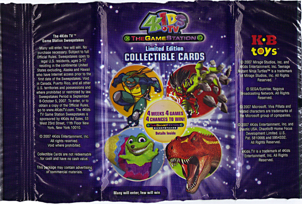 4KIDS TV - 'THE GAME STATION' :: K•B TOYS EXCLUSIVE,LIMITED EDITION COLLECTIBLE CARDS // ..wrapper (( 2007 )) by tOkKa