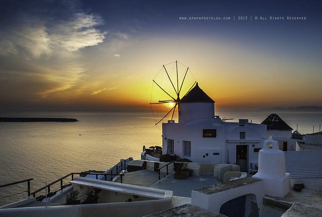 Windmill sunset-Santorini