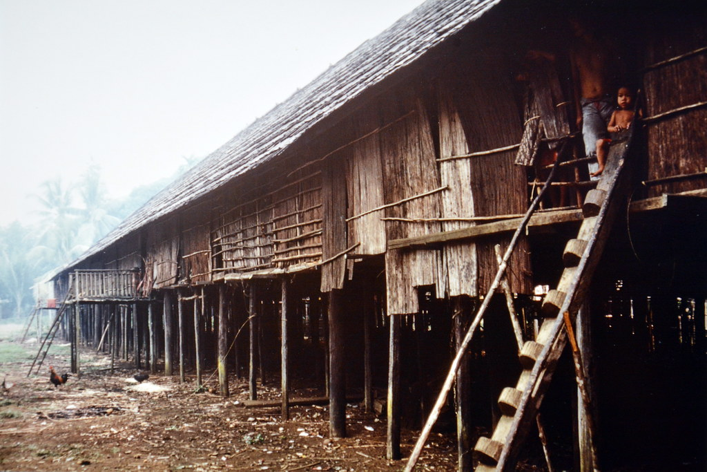 Borneo - Long House - 1 | Picture taken 1983 - digitally cap… | Flickr