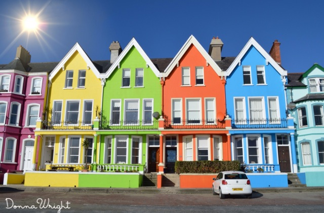 The Coloured House.Brightly Coloured Houses That Line The Shore In Whitehead