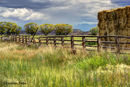 trees storm nature field clouds fence landscape colorado montrose hay hdr