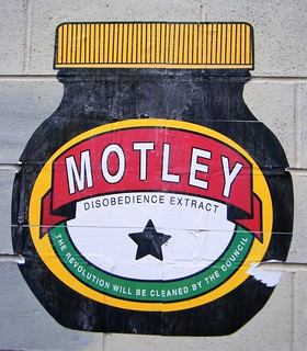 Street Art, Manchester, imitating marmite bottle - motley disobedience extract