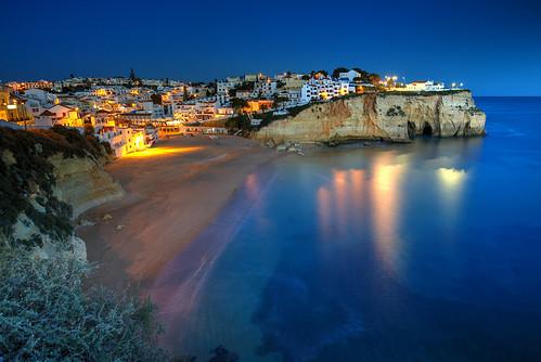 algarve atlantic carvoeiro ocean portugal beach dusk sunset