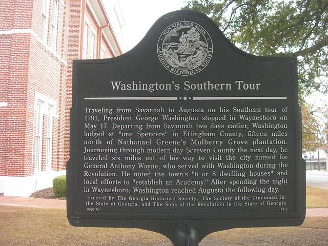 Washington's Southern Tour Marker