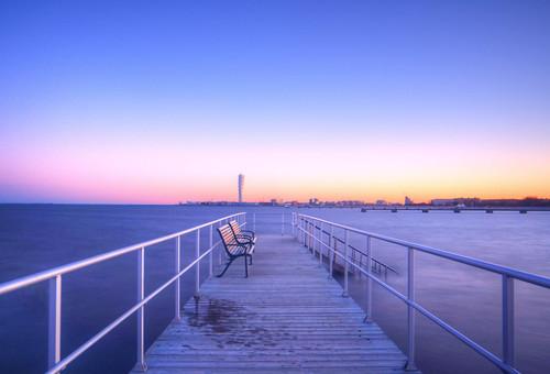 longexposure sunrise bench landscape sweden jetty paysage malmö banc jetée leverdesoleil suède balticsee turningtorso expositionlongue merbaltique sonyslta65