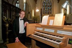 At the new digital organ at St Cuby's Church, Duloe.