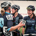 Jenn Levo / Speedvagen congratulates open women's 30  race winner Abby Watson / Breadwinner.