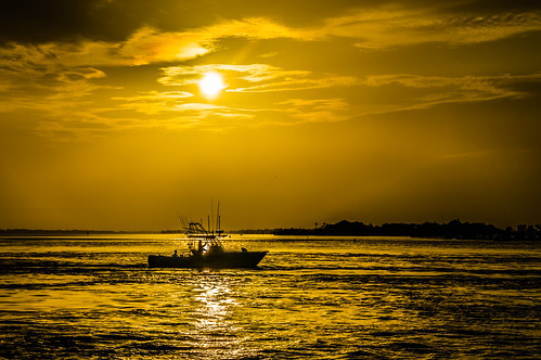 reflection beach sunrise gold boat canal al fishing fishingboat gilded perdido outgoing