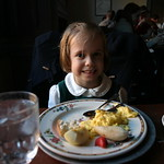 Claire eating breakfast at Gadsby's