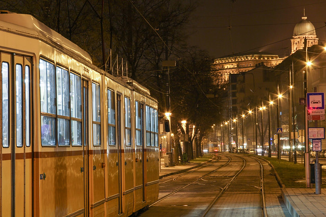 Budapest - night at the Batthany square tram station