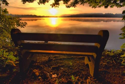 sunrise pa parkbench hdr a77 chestercounty marshcreekstatepark sonyalpha hdrextremes tokina1116mmf28