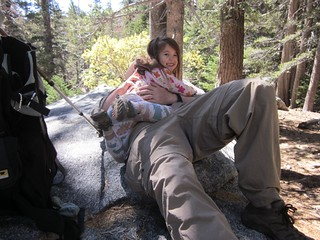 054 Joyce photobombs a shot of Hikin Jim relaxing on a granite slab in Tamarack Valley | by _JFR_