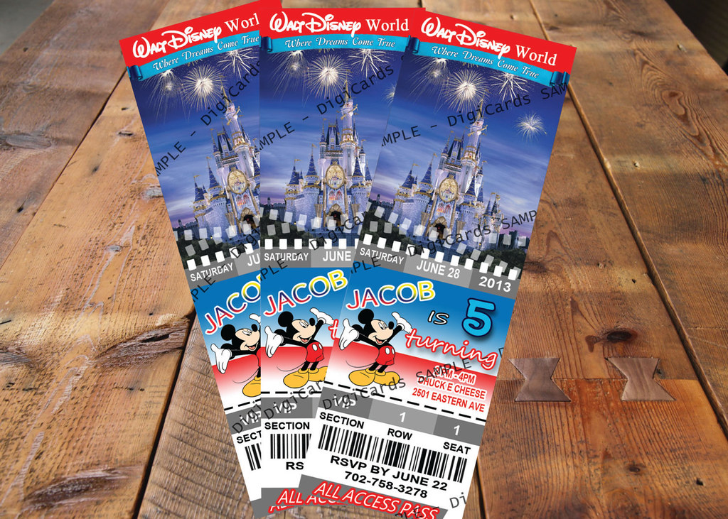 image regarding Disney World Printable Tickets identified as Walt Disney Globe Birthday ticket Invitation birthday element