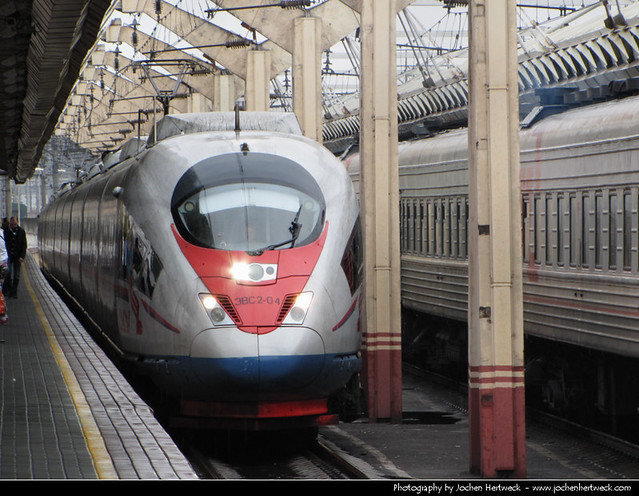 Sapsan entering Leningradsky station, Moscow, Russia